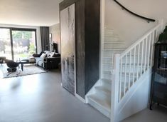 Black Walls, Old Wood, Concrete Floors, Ibiza, Sweet Home, Stairs, Flooring, Interior, Home Decor