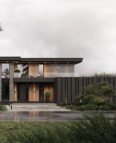 Modern Villa Design, Modern Exterior House Designs, Dream House Exterior, Exterior Design, Modern House Facades, Modern Architecture House, Residential Architecture, Architecture Design, Luxury Homes Dream Houses