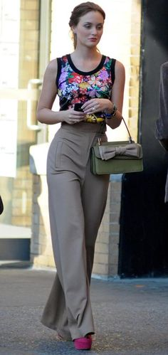 5x05. Love the shirt. And the bag. But the pants...no. If they were more form-fitting with a lower waist, and a different color like green, it would look good.