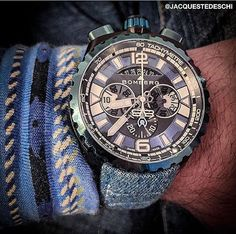 #New #BOMBERG #BOLT68 #Chronograph with #denim strap! Courtesy of our #MiddleEast Director @jacquestedeschi