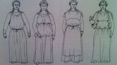 """Suggested methods of wearing the peplos form garment. Ref' Cloth and Clothing in Early Anglo-Saxon England: AD 450-750 2006 Penelope Walton-Rodgers."""