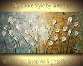 ORIGINAL Abstract Contemporary Heavy Texture Brown Grey Gold Tulips Painting Palette Knife Impasto Landscape by Susanna 48x24 Ready to Hang. $345.00, via Etsy.