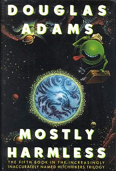 Mostly Harmless. Earliest Edition Douglas Adams book, Hitchhiker's Guide Part Science Fiction Humor. The Hitchhiker, Hitchhikers Guide, Science Fiction Authors, Fiction Books, Douglas Adams Books, Books To Read, My Books, Guide To The Galaxy, Green Paper