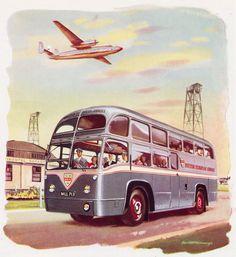 """AEC """"RF"""", de British European Airways (BEA) en 1952, cubriendo el servicio entre el Aeropuerto de Heathrow y el Centro de Londres"""