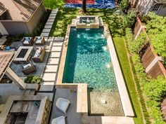 Riverbend Sandler Pools offers Geometric Pool Designs Dallas, Frisco and surrounding areas that homeowners can be proud of. Backyard Pool Landscaping, Small Backyard Patio, Backyard Patio Designs, Swimming Pools Backyard, Backyard Ideas, Small Inground Pool, Small Pools, Small Pool Design, Modern Pools