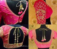 Pink Silk Saree Blouse Designs Catalogue
