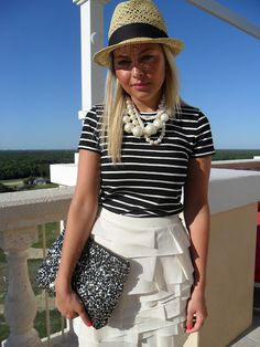 inspiration: white skirt, stripes, pearls