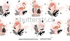 Hand drawn vector abstract graphic freehand textured sketch pink flamingo and tropical palm leaves drawing illustration seamless pattern with modern confetti elements isolated on white background.