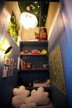 Beautiful and cozy reading spaces for kids. Find ideas for your kid's reading nook here. Reading Nook Closet, Closet Nook, Playroom Closet, Reading Nook Kids, Kid Closet, Closet Space, Closet Playhouse, Reading Loft, Playroom Ideas