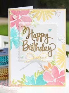 Daffodil Delight,Bermuda Bay, Flirty Flamingo, Peekaboo Peach, Crumb Cake Gold embossing, Stampin Up-Durch die Blume