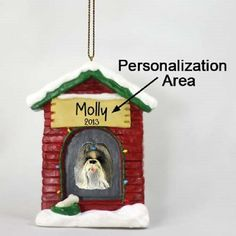 Shih Tzu Mixed Dog House Xmas Pet Ornament