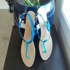 T strap sandals turquoise & royal sz7.5 Fun t strap sandals with blue and royal colors on patterned faux leather. Adjustable goldtone buckle. Worn once. Size 7.5 Shoes Sandals