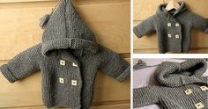 This adorable knitted baby peacoat with a hood is knitted in the garter stitch. The baby coat is knitted in one piece, starting from one of the sleeves.