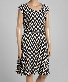 Loving this Black Chevron Belted Cap-Sleeve Dress on #zulily! #zulilyfinds