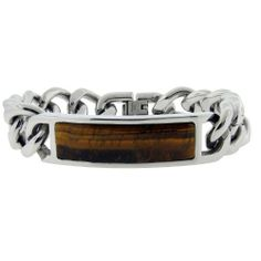 "Men's Stainless Steel Bracelet with Tiger's Eye, 9"" Amazon Curated Collection. $45.00. Made in China. Save 36%!"