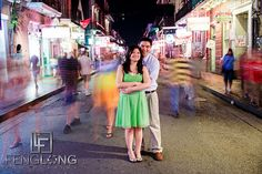 Creative engagement photography on Bourbon Street in New Orleans, Louisiana