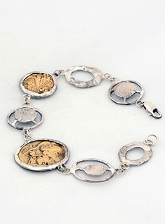 Bracelet with ancient coin replicas,925 stg silver