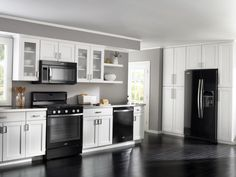 Off White Kitchen Black Appliances black appliances and white or gray cabinets – how to make it work