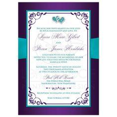 Purple and blue Wedding Invitations   Teal, Royal Blue, and Purple ...