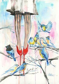 Watercolor Art by Lora-Zombie (imagina uma pintura dessa na sua parede) #love!