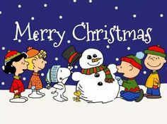 Snoopy, Woodstock and the Peanuts Gang Making A Snowman With The Caption - Merry Christmas