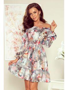 DAISY Dress with frills - flowers grey Daisy Dress, Flower Dresses, Day Dresses, Nice Dresses, Casual Dresses, Casual Outfits, Belted Dress, Gray Dress, Unique Fashion