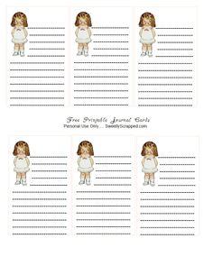 Dolly Dingle freebie printable journal cards