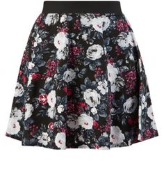 Black and Red Floral Print Skater Skirt