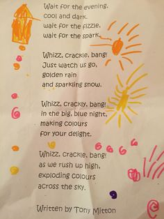 Bonfire Night Poem by Tony Mitton Poetry Activities, Nursery Activities, Autumn Activities, Christmas Activities, Firework Poems, Bonfire Night Song, Fire Poem, New Year Poem