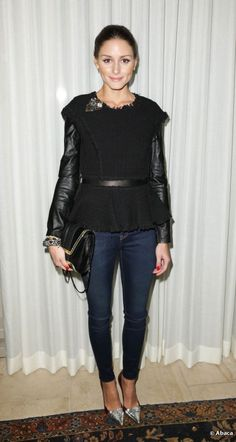 olivia palermo leather sleeve layered with tweed rebecca taylor top jacket metallic pointy pumps
