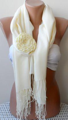 Bridesmaid pashmina shawls Ivory pashmina shawl by elegancescarf, $21.00