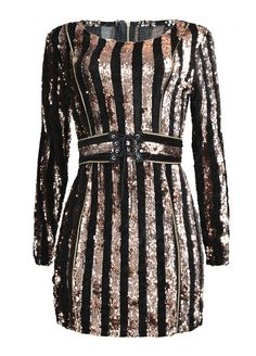 Long Sleeve Belted Sequin Mini Dress_Club Dress_Clubwear Clothing_Sexy Lingeire | Cheap Plus Size Lingerie At Wholesale Price | Feelovely.com