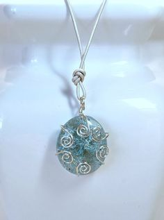 Necklace Pendant with Aqua Shattered Glass, Hand Wrapped Wire and Silver Leather Adjustable Cording by SunberryCreations on Etsy