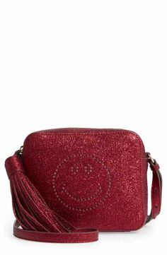 Anya Hindmarch Smiley Metallic Leather Crossbody Bag