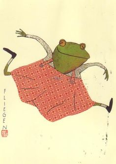 wolf erlbruch - the frog went a-courting and he did ride ahem...cute froggie illustration