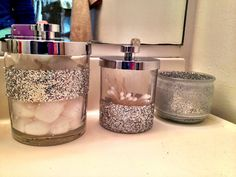 My glitter bathroom! Glitter Bathroom, Mason Jar Bathroom, Bathroom Sets, Bathroom Stuff, Bathroom Vanities, Glitter Toilet Seat, Gold Bathroom Accessories, Glitter Mason Jars, Mattress Cleaning