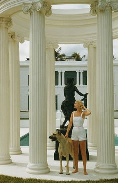 Guest, 1955 The American socialite with a Great Dane at her ocean-front estate, Villa Artemis, in Palm Beach by Slim Aarons on artnet. Browse more artworks Slim Aarons from Staley-Wise Gallery. Jet Set, Slim Aarons, Estilo Ivy, Estilo Glamour, Romper Room, Old Money, High Society, Attractive People, Wanderlust Travel
