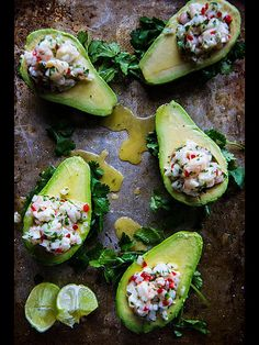 9 Deliciously Stuffed Avocado Recipes | SHRIMP CEVICHE | Fresh raw shrimp marinated in lime, chili, onion and cilantro piled high on an avocado makes for a bright summer lunch when the thought of turning on the oven terrifies you.