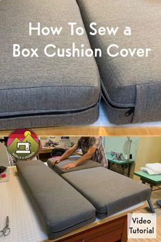Sewing Hacks, Sewing Tutorials, Sewing Crafts, Sewing Projects, Sewing Tips, Box Cushion, Diy Cushion Covers, Cushion Cover Pattern, Outdoor Cushion Covers