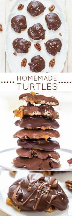 Homemade Turtles - Fast, easy, no-bake and just 4 ingredients! Chewy, gooey, salty-and-sweet! Homemade always tastes better! (fudge brownies no bake) Just Desserts, Delicious Desserts, Dessert Recipes, Desserts Diy, Holiday Baking, Christmas Baking, Homemade Turtles, Yummy Treats, Sweet Treats