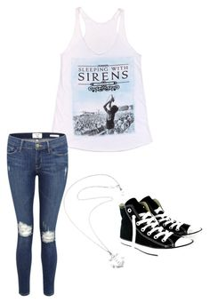 """Concert time"" by angie-greece-villarreal ❤ liked on Polyvore featuring Frame Denim, Converse and Karen Walker"