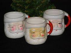 Vintage Christmas Santa Claus Mugs 1950s Japan Holt by parkie2, $11.95