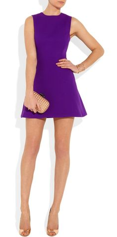 VICTORIA BECKHAM Silk and wool-blend Mini Dress    EDITOR'S NOTES Flawless silhouettes are the perfect canvas for paintbox brights. Victoria Beckham's purple silk and Wool-blend Mini Dress is a stunning choice for evening. A zip fastening through the back ensures you can step into it effortlessly.  Shown here with: Eddie Borgo cuff, Monica Vinader ring, Jimmy Choo shoes, Bottega Veneta clutch.