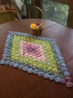 Rainbow Diamond Tablerunner, Table runner or mini fabric yoyo quilt or doily for spring. 35 inch by 22 inch Table Runner And Placemats, Quilted Table Runners, Quilting Projects, Sewing Projects, Handmade Crafts, Diy And Crafts, Fabric Crafts, Sewing Crafts, Yo Yo Quilt