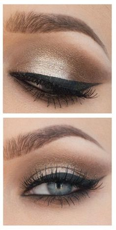 Maquillage Yeux Create a Perfect Metallic Smoky Eye in 3 Minutes , Make-up, Eye Makeup Glitter, Smokey Eye Makeup, Skin Makeup, Gold Eyeshadow, Eyeshadow Makeup, Makeup Brushes, Eyeshadows, Benefit Eyeshadow, Eyeshadow Palette