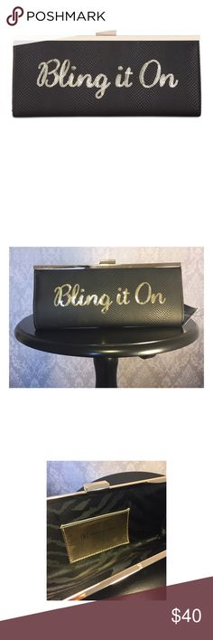 "INC Carolyn BLING IT ON Clutch Faux Leather INC Carolyn BLING IT ON Clutch with Sequin details.  Printed cloth interior features 1 card pocket. Tab frame clasp closure. Black with gold tone hardware. This clutch can fit an iPhone 6 Plus or similar or smaller. Measurements: 10-1/4 W x 4 3/4"" H x 1"" D. INC International Concepts Bags Clutches & Wristlets"