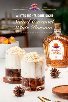 Back just in time to do winter right. Salted Caramel is here to sweeten up those winter woes. Recipe: 1 oz coffee liqueur, 1 oz Crown Royal Salted Caramel, 4 oz milk (or cream). Gather the ingredients. Pour the coffee liqueur into an old-fashioned glas Christmas Cocktails, Holiday Drinks, Party Drinks, Cocktail Drinks, Holiday Recipes, Cocktail Ideas, Vodka Cocktails, Martinis, White Russian