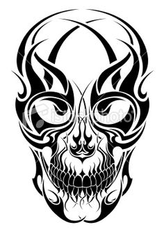 Gallery For - Tribal Skull Drawing