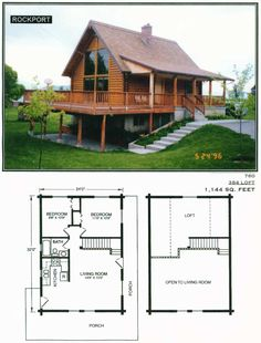 Make the kitchen bigger and turn the loft into the master bedroom Cabin House Plans, Cabin Floor Plans, Tiny House Cabin, Log Cabin Homes, Small House Plans, Small Log Cabin, Log Cabins, A Frame House, Cottage Plan