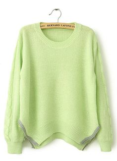 Green Long Sleeve Split Cable Knit Sweater US$31.15